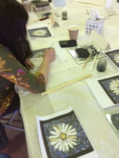 Etching daisies onto glass